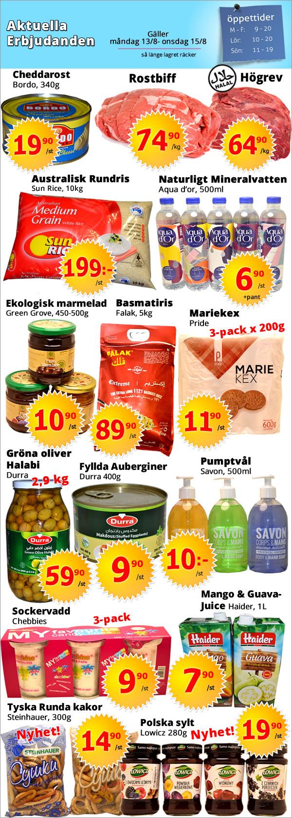 Kista Grossen - Aktuella erbjudanden,basmatiris,jasminris,lammstek,ris, thai food, Indian food